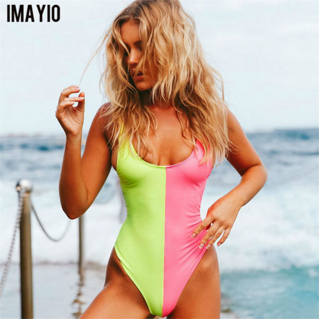 3b53e51d8b5 Imayio women one-piece swimsuit patchwork backless Beachwear sexy bathing  suits good quality wire free