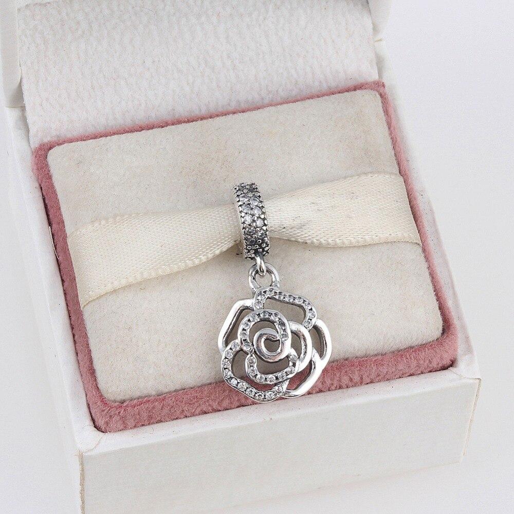 ZMZY 925 Sterling Silver Charms Shimmering Rose OpenworkBeads Fit Pandora Charm Bracelet