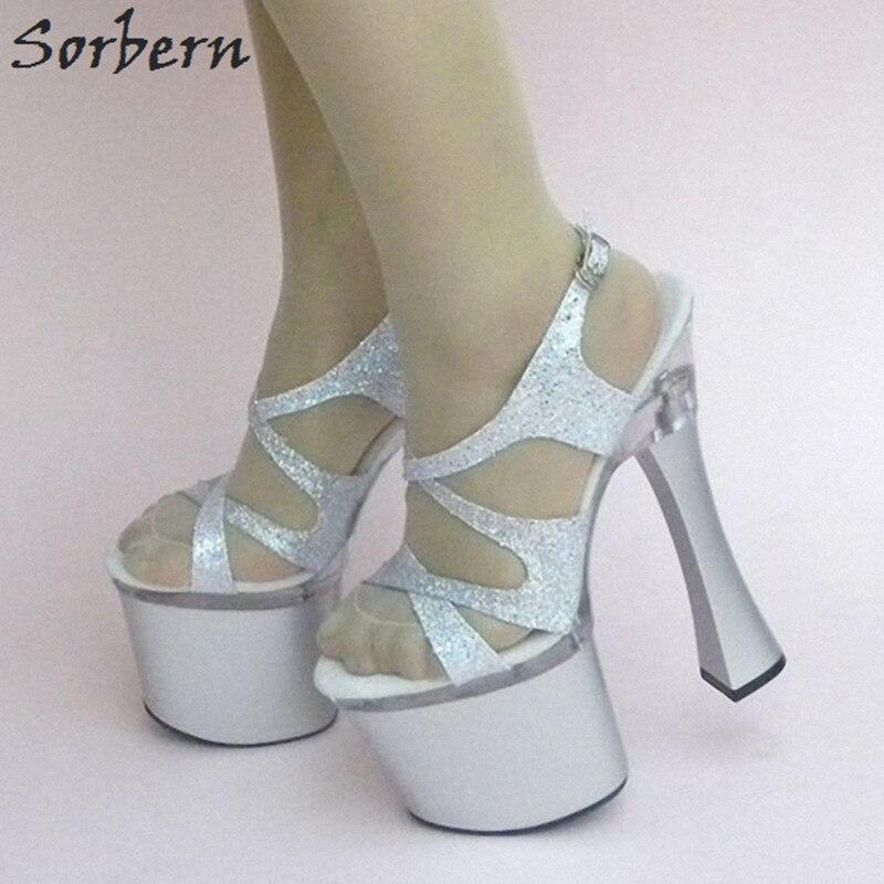 18 Argent Sangle Chaussures Femmes Partie De Danse Cm Haute Boucle Sandales Image S 8 Plate forme Dames Unisexe Sorbern Réelle Nwmn08