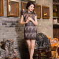 New Arrival Chinese Tradition Mandarin Collar Women's Lace Mini Cheong-sam Qipao S M L XL XXL TZM2015010