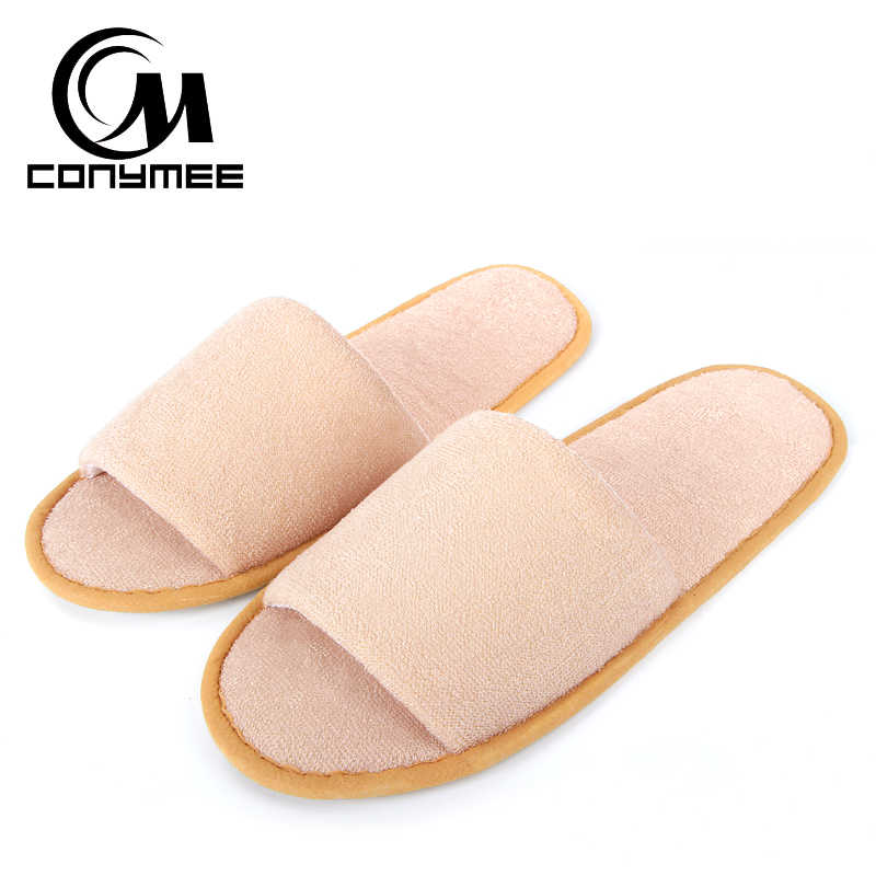 Conymee casa sapatos mulher portátil dobrável chinelos de sapato plano das mulheres dos homens viagem hotel casual tênis pantufas interior macio chinelo