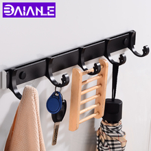 лучшая цена Robe Hooks Black Aluminum Bathroom Hook for Towels Clothes Coat Hook Wall Hanger Door Decorative Hat Bag Hook Bath Accessories