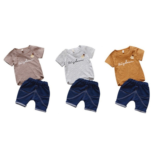 31b0de40 Baby Boy Clothes Stripe T-shirt+Denim Shorts Fashion Baby Clothes Set 2PCS Kids  Summer Top Beach Denim Shorts