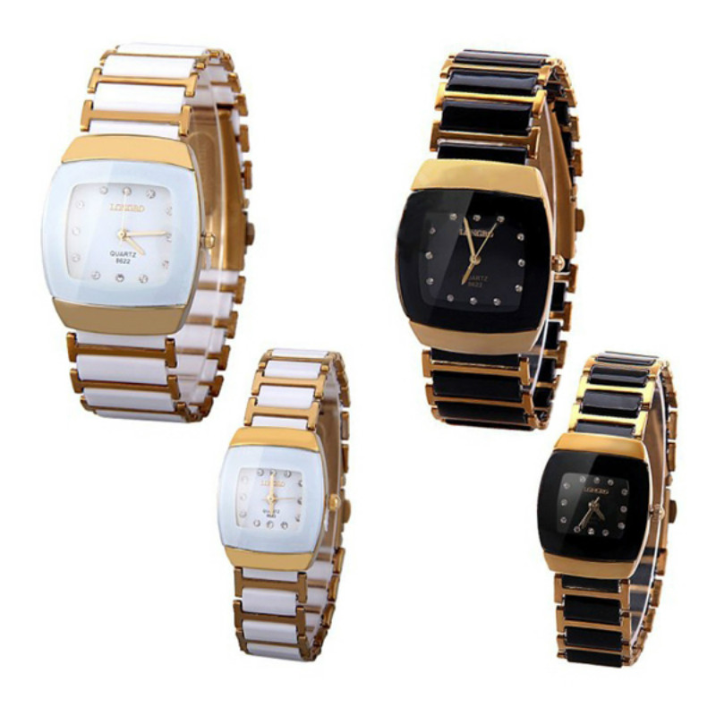 Fashion Lovers' Watches Quartz Clock With Square Dial Ceramics And Steel Wrist Watch Band