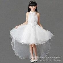 New Children Korean Princess Girls Dress Gauze Pure White Belt Kids Clothing
