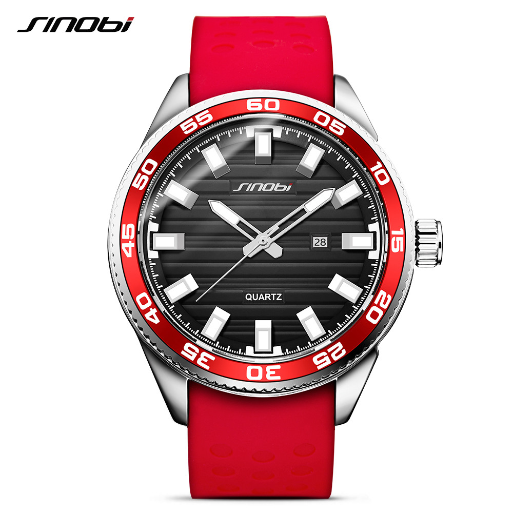 SINOBI 316 נירוסטה גברים של ספורט שעונים יוקרה מותג סיליקון עמיד למים גברים צבאי שעון קוורץ Relogio Masculino