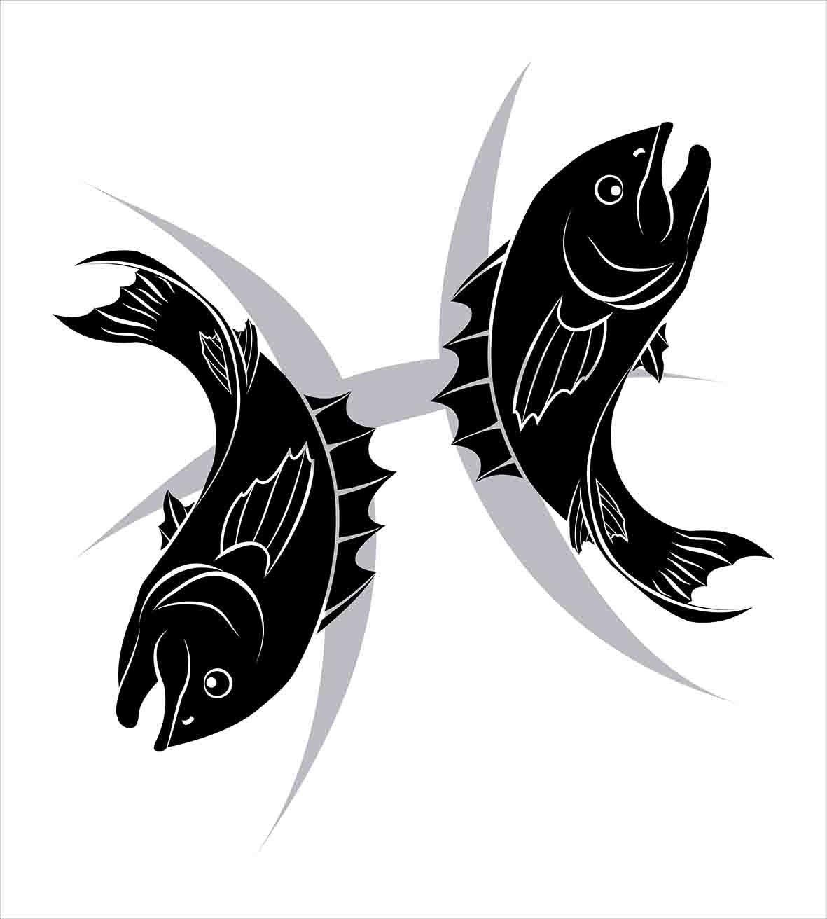 Zodiac Pisces Duvet Cover Set Monochrome Fish Marine Wildlife With