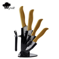 3 4 5 6 Bamboo Handle With White Blade Holder Ceramic Knife Set Cooking Tools