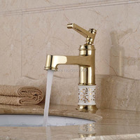 Free Shipping Promotion bathroom basin gold faucet Brass with Porcelain body tap New Luxury Single Handle hot and cold tap ZR469