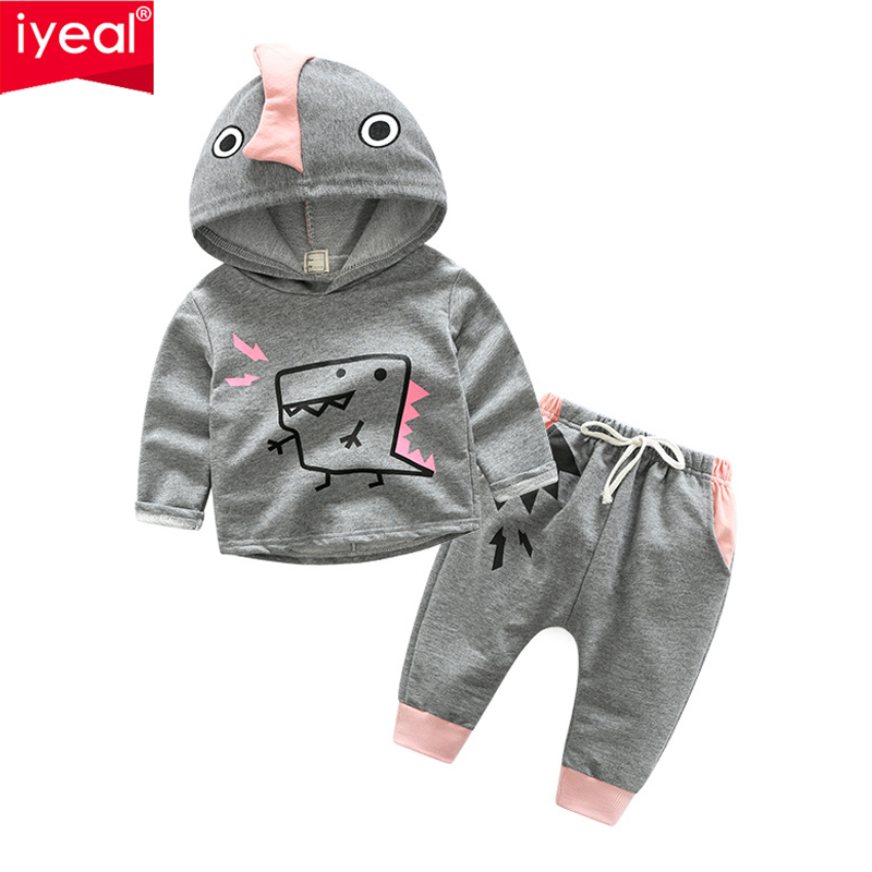 IYEAL New Baby Boy Clothing Set Sport Causal Cotton Long-sleeved Hooded Tops + Trousers 2pcs Newborn Baby Girl Clothes Suit baby boy clothes set 2018 spring new gentleman plaid clothing suit for newborn baby bow tie shirt suspender trousers 5 years