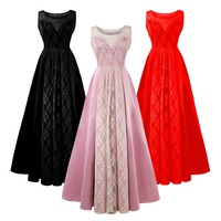 2019 New Fashion Women Girls Lace Floral Long Dress Elegant Party Gown Formal Bridesmaid Party Dresses for Women Ladies