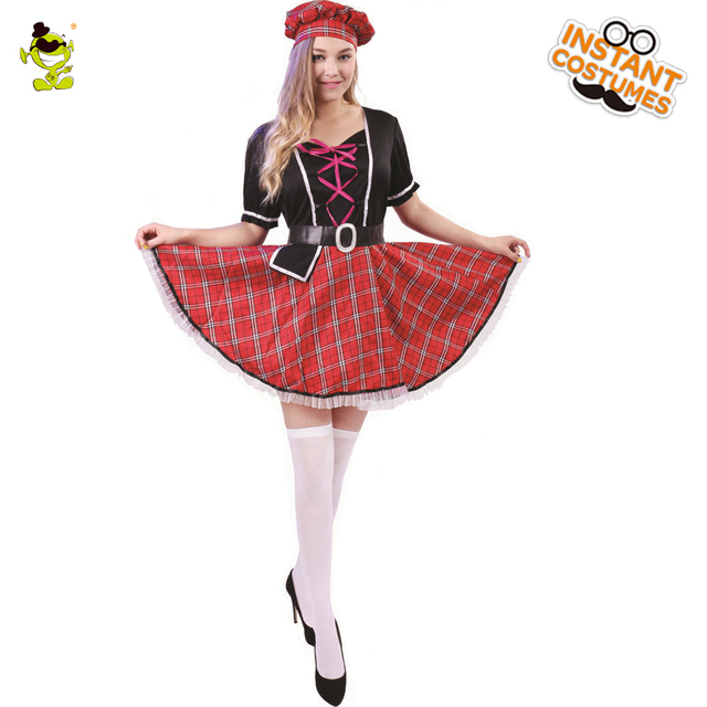Womens Sweet Scottish Girl Costumes Adult Carnival Party The Pretty Scotland School Girl Dress -2150