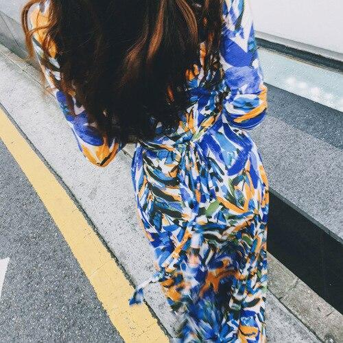 Con In Jersey Blu Abito Efatzp V Di A Elasticizzato 2018 Maxi Modo Mare Al 4 Donne Manica Delle Nuovo Vacanza Stampa 3 Scollo Vestito Colorful COXCq