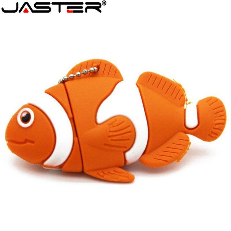 JASTER Hot Cute Fish USB 2.0 Flash Drive Pen Drive Small Animal 64GB 32GB 16GB 8GB 4GB USB Memory Stick Cartoon Model Free Shipp