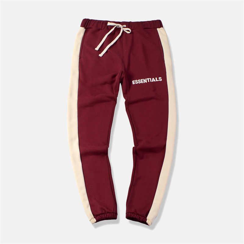 2019 Ilkbahar Sonbahar Elastik Rahat Sweatpants Pantolon Erkek Streetwear Yan Şerit İpli Pantolon Renk Bloğu Pantolon 30-36