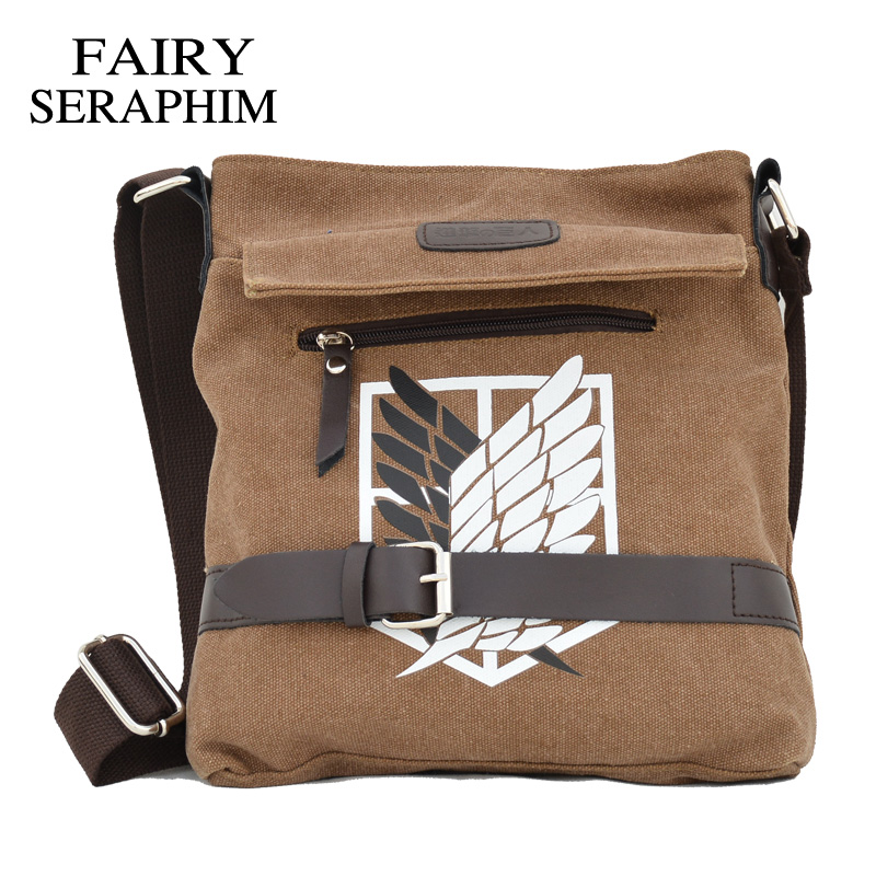 Attack On Titan Messenger Chilredn School Bag Teenagers Anime Investigation Corps Boys Crossbody Canvas Handbag