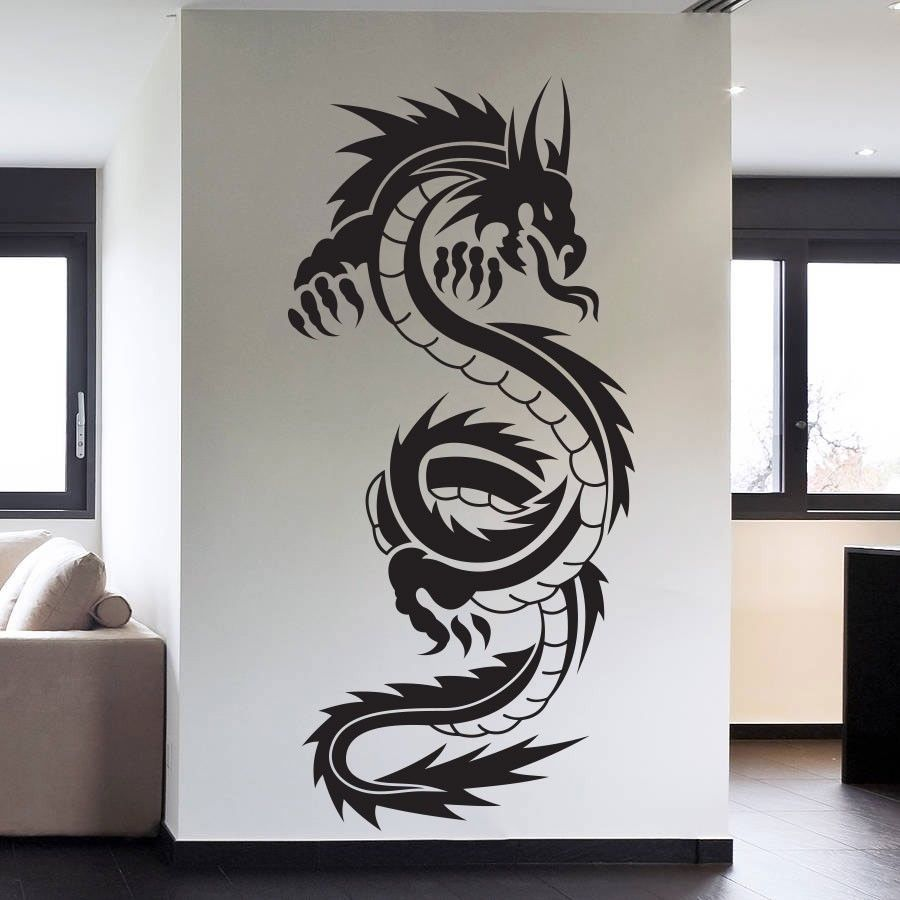 45x95cm tribal tattoo classic chinese dragon wall decal. Black Bedroom Furniture Sets. Home Design Ideas