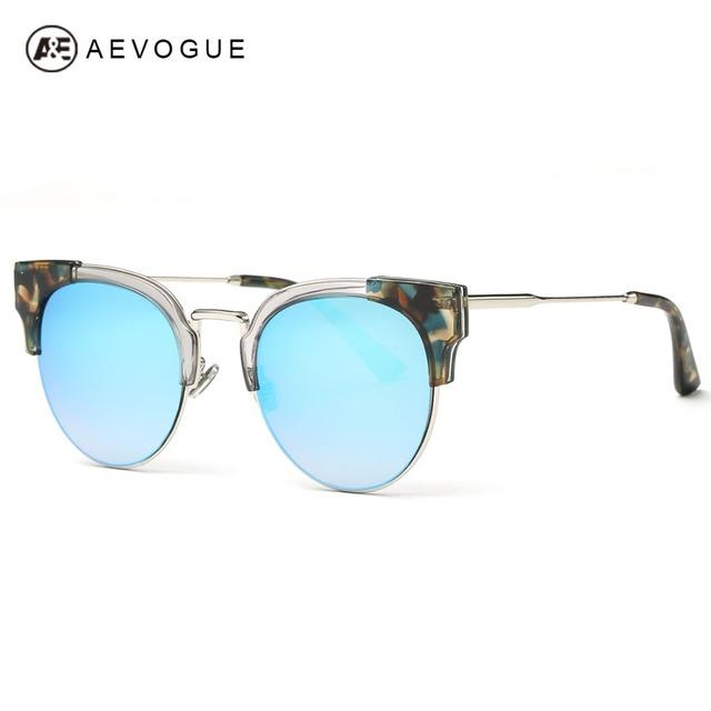 AEVOGUE gafas de Sol de Las Mujeres Más Nuevo Original Diseñador de la Marca Marco Gafas de Sol Del Ojo de Gato Semi-Sin Montura de Acetato Con Caja UV400 AE0378