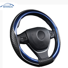 2017 New Arrival  Black Micro Fiber Leather Car Steering Wheel Cover Universal 38CM Steering-Wheel