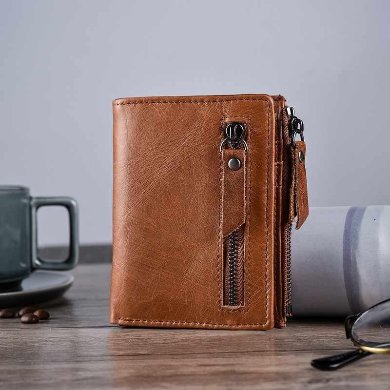 Из натуральной кожи Для мужчин s кошелек сцепления мужской Винтаж Hasp тонкий RFID кошелек короткие портмоне Для мужчин держатель для Карт Зажим для бумажники