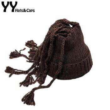 Terbaru Rajutan Skullies & Beanies Dengan Kepang Panjang Pria Wanita Musim Dingin multi-fungsional Lucu Topi Hangat Rumbai Syal Wajah masker YY17248