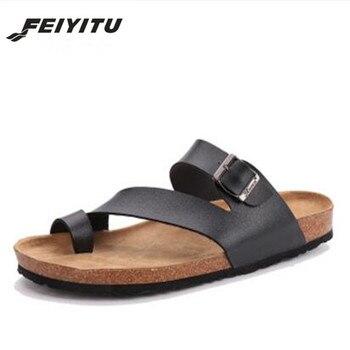 fdc1bd93a Feitu chanclas 2018 verano suave hombre Cork Slides Sandalias zapatillas  hombres amantes Casual playa Zapatos Sandalias