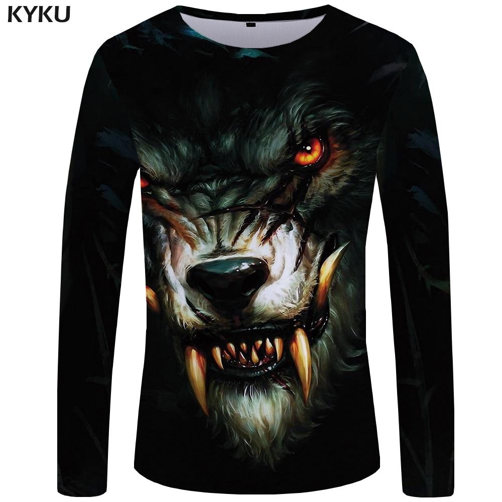 KYKU Wolf T shirt Men Long sleeve shirt Black Streetwear Eye Tee Trend Cool Animal Punk Rock Mens Clothing Short Sleeve