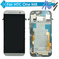 Para htc one m8 lcd display + touch screen digitalizador asamblea con marco negro/blanco/oro + herramientas de envío gratis
