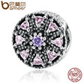 BAMOER Hot Sale 925 Sterling Silver Shimmering Medallion, Multi-Colored CZ Charms Fit Bracelets Jewelry Accessories PAS394