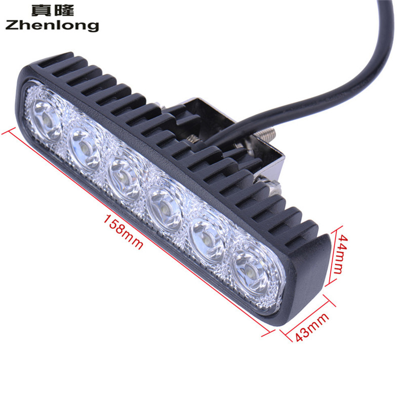 Купить с кэшбэком 2PC LED 12V 18W LED Car Light Daytime Running Lamp Work Car Ceiling Lamp 6LED Fog Led Waterproof White Light Floodlight Portable