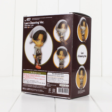 10cm Nendoroid Attack on Titan Figure Toy Levi Ackerman 417 Cleaning Ver. Model Doll for Children