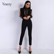 Yesexy 2019 Spring Summer Sexy Lace See Through Mesh Hollow Out Long Sleeve Rompers