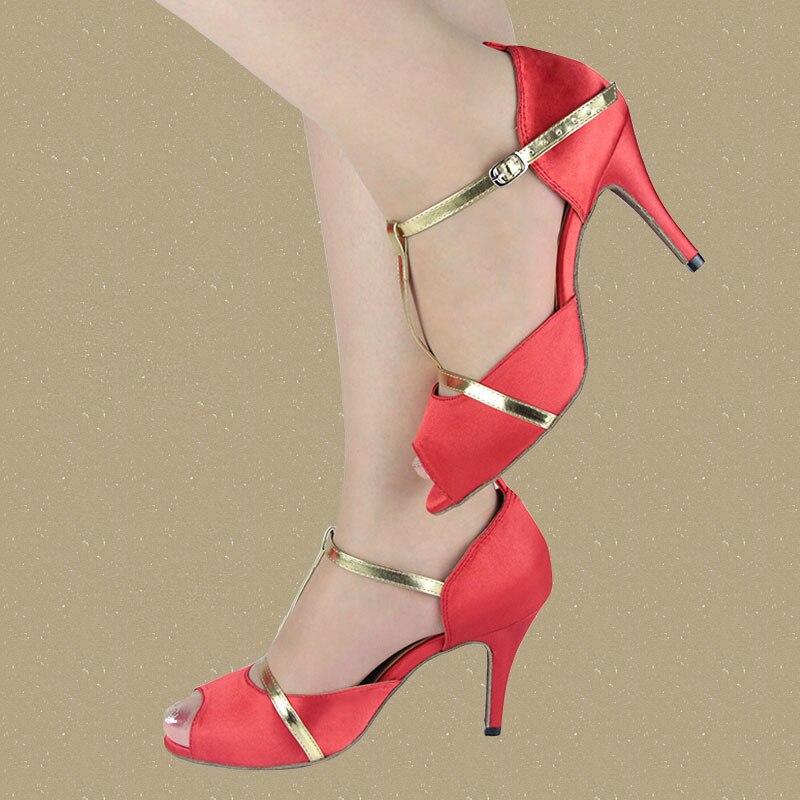 Chaussures Salsa en Satin rouge pour dames, danse latine de qualité pour femmes Tango livraison gratuite