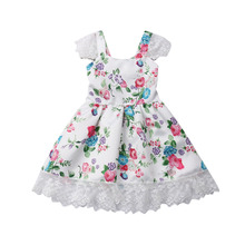 Pudcoco Summer Toddler Infant  Baby Girl Kid Clothe Floral Lace Bow Princess Dress Tutu Party 2019