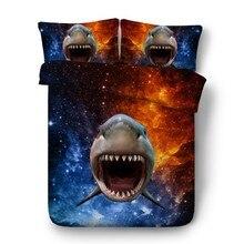 3D Акула постельных принадлежностей класса люкс Звезды одеяло пододеяльник кровать в мешок лист Лен Калифорния супер King queen Размер ПОЛНЫЙ twin 4 шт