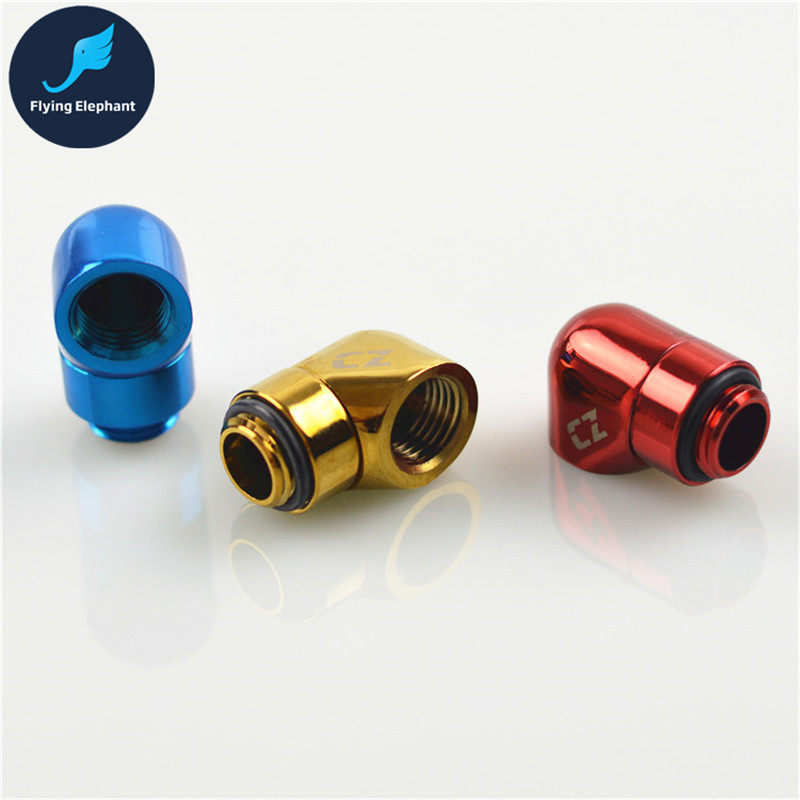 Water Cooling Tubing Fitting 90 Degree Rotary Joint Elbow Smooth Pipe Connector G1/4 free shipping 2 51mm 90 degree pipe bend with thermowell nipple tri clamp connection elbow pipe fitting ss304