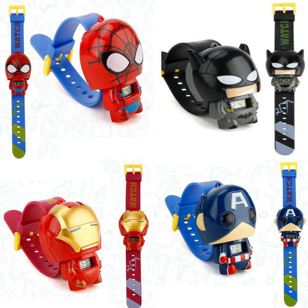 1 Pcs Cartoon Digital 3D Watch Telescopic Dial Type Super Hero Spiderman Batman Iron Man Action Figures Kid Gift Toy
