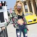 2017 новая мода досуга хип-хоп уличная стиль женская бейсбол равномерное цветок Камуфляж печатные личности женские куртки