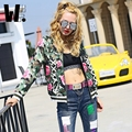 2017 nova moda lazer estilo hop streetwear das mulheres uniforme de beisebol Camuflagem flor impresso personalidade das mulheres jaquetas