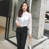 2019 New Spring Women Shirts Polka Dot Chiffon Slim Han Fan and Suits Blouse Shirt White 8603