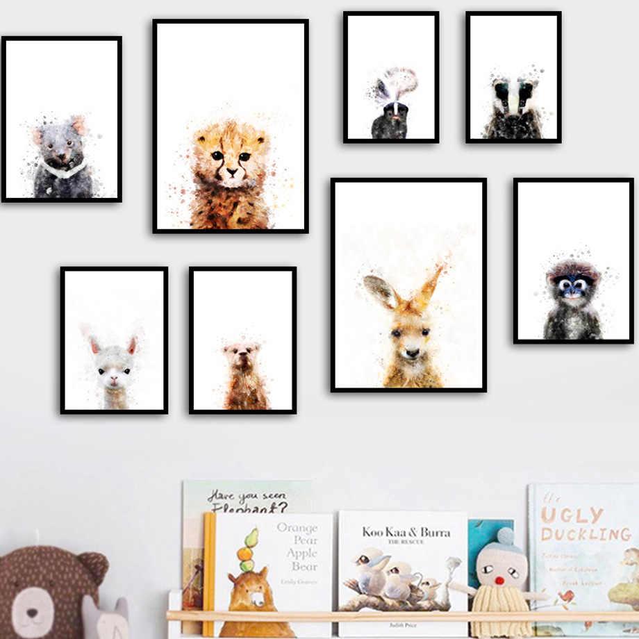 Leopard Медведь кенгуру Альпака Обезьяна Детские Северный плакат художественная роспись стен Art Холст Картины настенные панно Детские Детская комната Декор