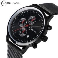 YISUYA Luxury Watches Men' s Steel Mesh Black Sports Male Business Analog Clock Date day Quartz Watch erkek kol saati Relogio
