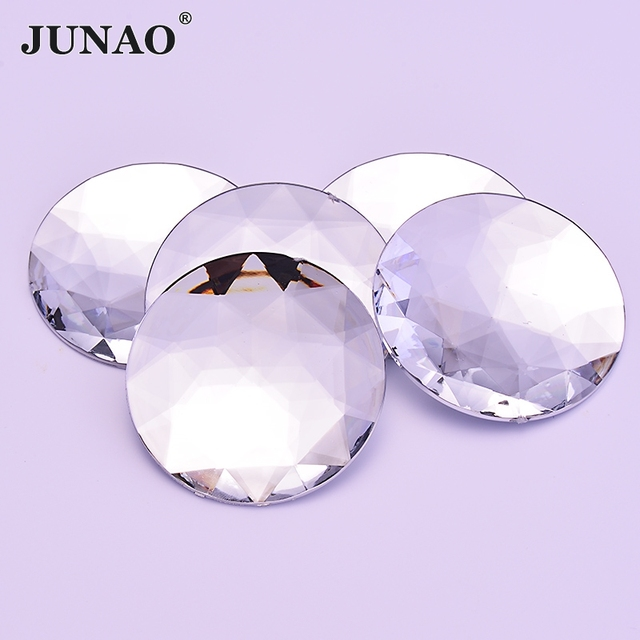 JUNAO 52mm Clear White Crystal Big Rhinestones Acrylic Gems AB Crystals  Applique Glue On Strass Non Sewing Stones for Clothes e98c010001b7