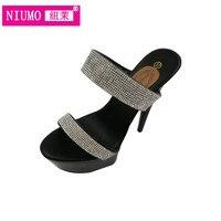 Summer High Heels 15cm Anti Skid Waterproof Desk Cool Slippers Diamond Star Banquet Dress Shoes
