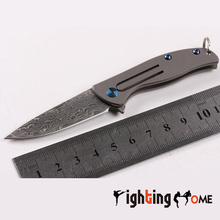 Hot & Damascus mini knife ceramic ball bearing Flipper folding knife TC4 Titanium handle camping hunting knife EDC tool.