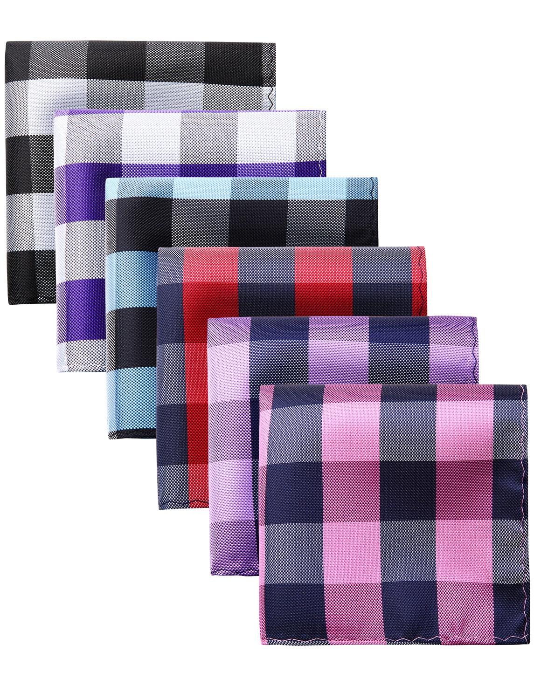 Men Fashion Pocket Square Striped Plaid 6 Pcs 25 X 25 Cm  Wedding Party Business  Handkerchief Gift Box Set