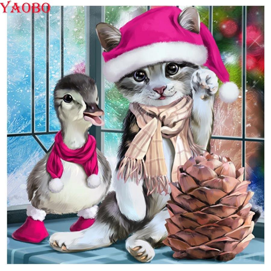 5D DIY Diamond Painting Full Square Christmas Cat Diamond Embroidery Animals Duck Cross Stitch Rhinestones Mosaic Handicraft