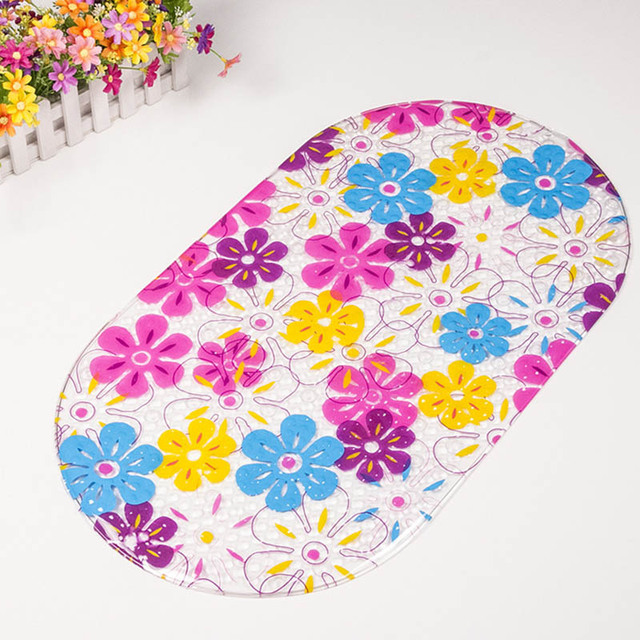 Non-slip Bath Mat Massage Shower Pad with Sucking Flower Transparent Bath Mat Bathroom Carpet MYDING