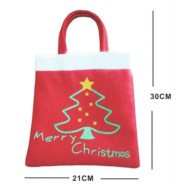 5 Pcs Merry Christmas Red Candy Bag Tree Print Pouch Home Party Decor Gift 5