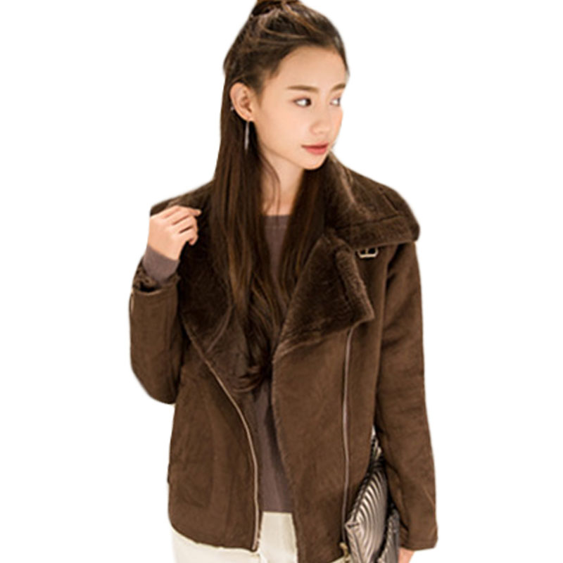 Faux Suede Office Work Slim Short Coat Female Fur Jacket Outerwear Parka Solid Color Women Thick Winter Biker Moto Jacket XH798